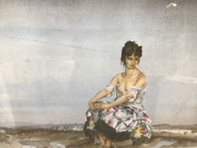 William Russell Flint (1880-1969) limited edition colour print - seated female figure in landscape,
