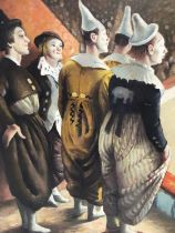 After Laura Knight oil on board clowns