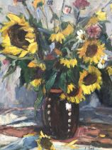 Janos P. Bak (1913-1981) - oil on canvas - still life of sunflowers and summer flowers in stoneware