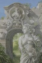 Richard Shirley-Smith (b.1935), gouache, statue and ruined portal, inscribed to label verso and date