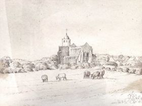 1830s pen and ink drawing - a rural church, indistinctly inscribed, dated July 13. 1836, in glazed g