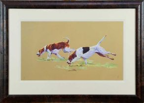 """Debbie Harris, contemporary, signed limited edition print - Two Hounds, """"Bright Young Things"""", 129/2"""