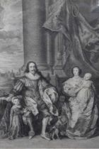 Late 18th century black and white engraving after Van Dyck - 'Charles the First, King of England & H