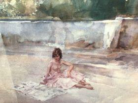 William Russell Flint (1880-1969) limited edition colour print - semi-clad female before a fountain,