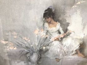 William Russell Flint (1880-1969) limited edition colour print - 'Gladioli', 193/750, a copy of a re