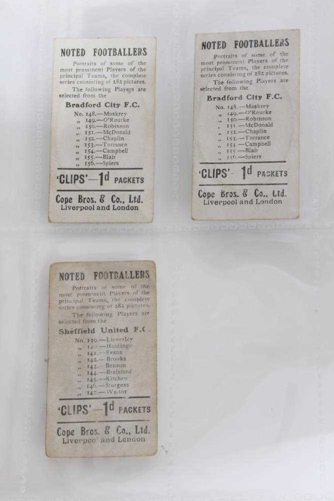 Cigarette cards - Cope Bros 1910. Noted Footballers (Clips 282 Subjects) 41 different subjects. - Image 2 of 12