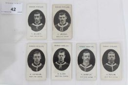 Cigarette cards - Taddy 1907/8 Prominent Footballers - West Ham United, 12 different cards.