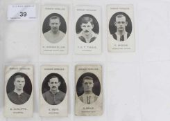 Cigarette cards - Taddy 1907/8 Prominent Footballers - 11 different, variety of backs.