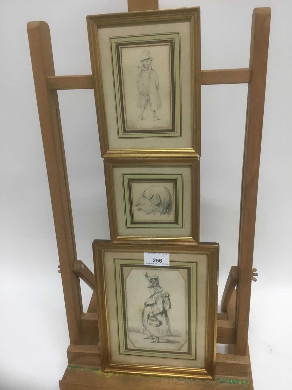 Henry Bonaventure Monnier (1805-1877) three pencil sketch caricatures of figures, tow signed, 14.5cm