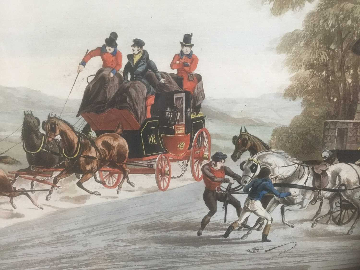 Pair of 19th century hand coloured aquatints by R. Reeves after C. Newhouse, coaching scenes entitle - Image 5 of 11