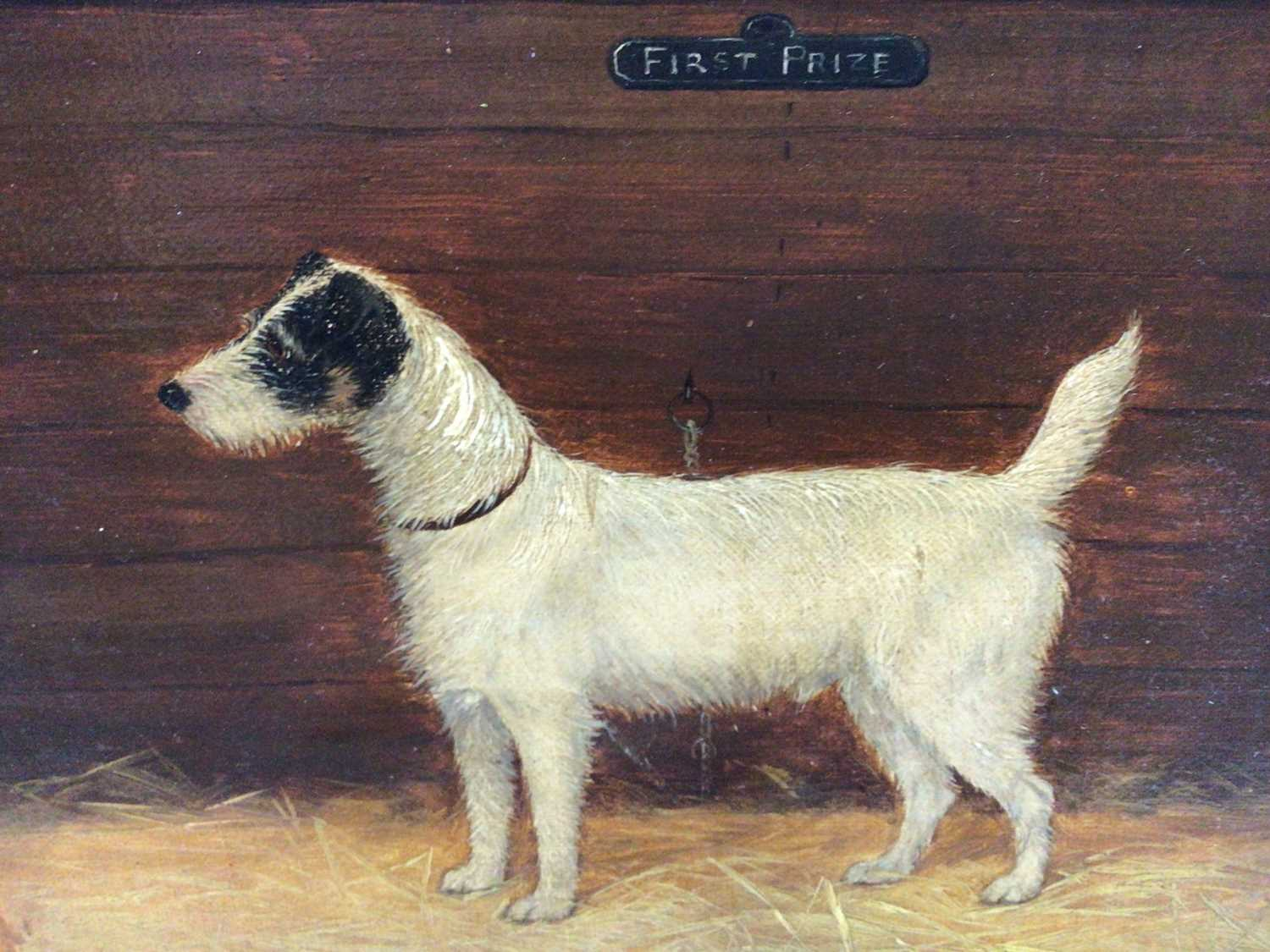 """English School 19th Century, """"First Prize"""", a study of a terrier, oil on board, inscribed, in gilt f"""