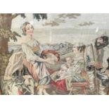 Antique needlework panel depicting a family group being entertained by a musician, 66cm x 60cm, in m