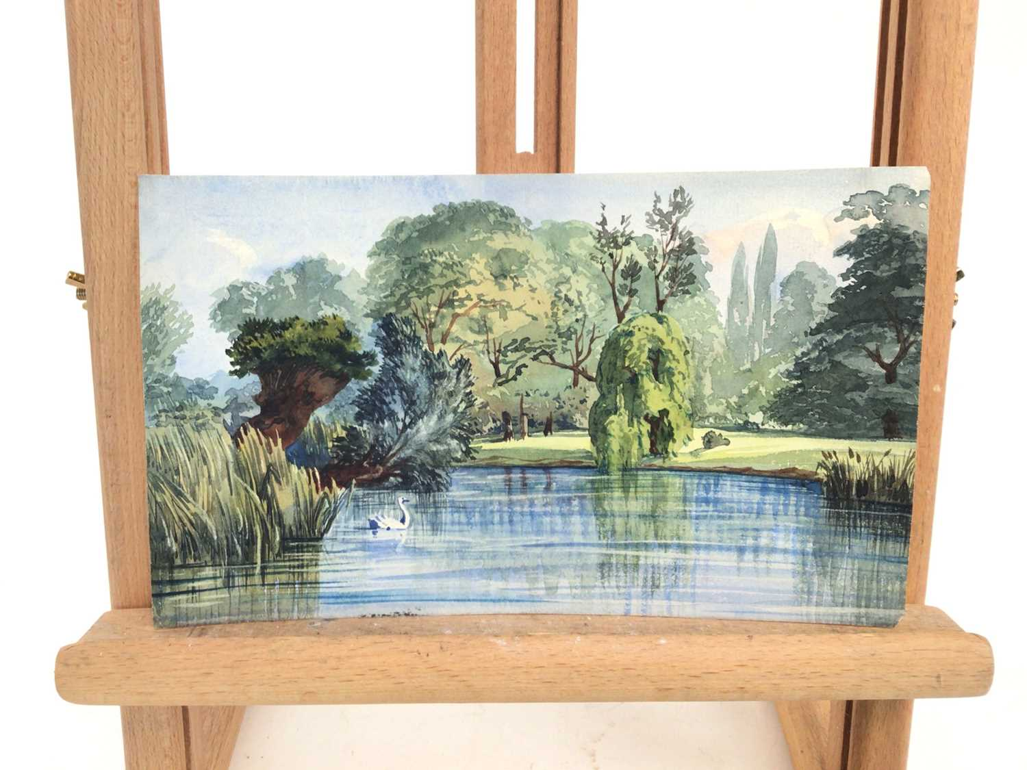Attributed to Ernest Shepard watercolour - view of The Lake Regents Park - Image 2 of 3