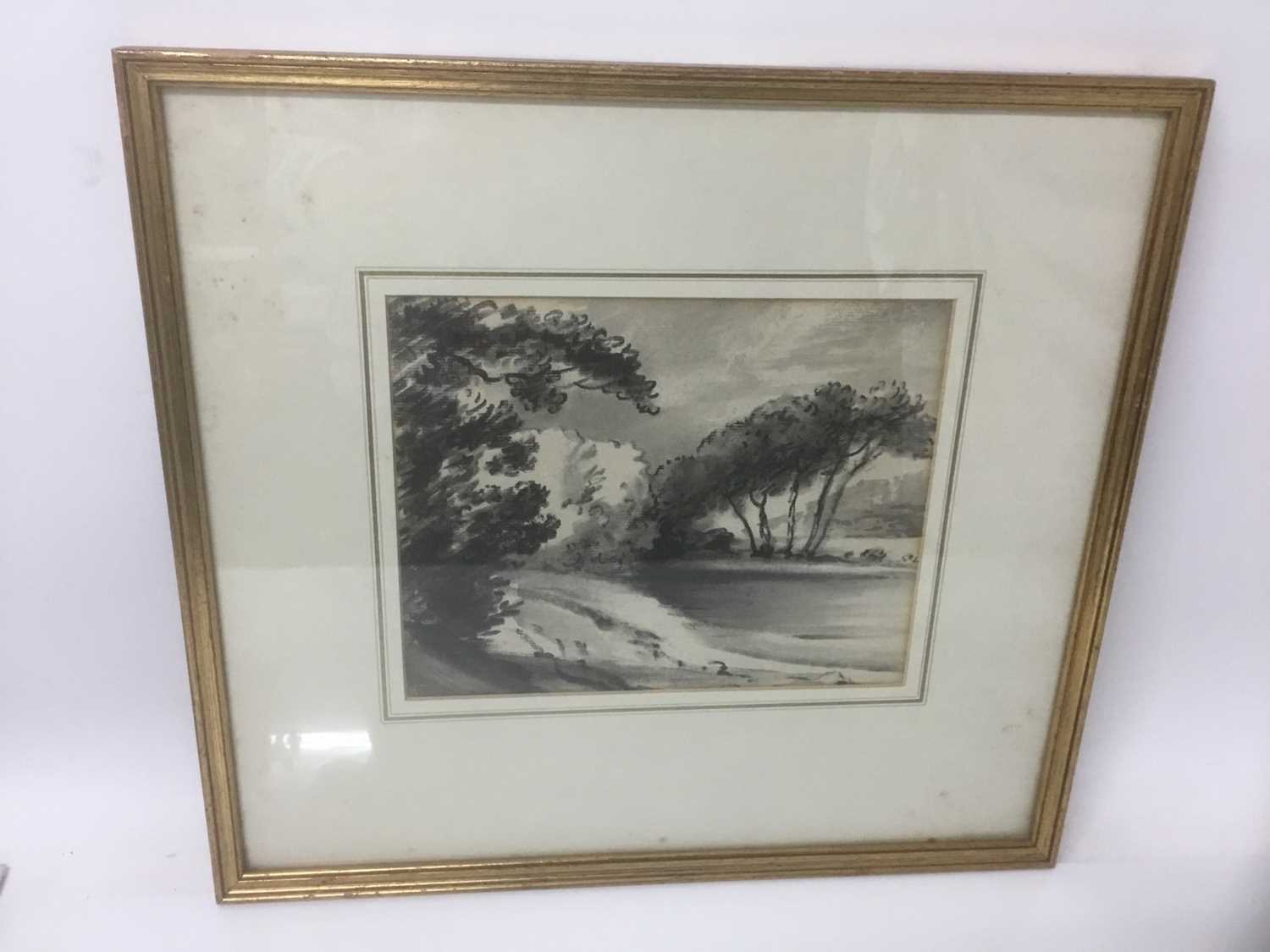 Thomas Monro (1759-1833) charcoal and wash - a landscape, in glazed gilt frame - Image 2 of 6