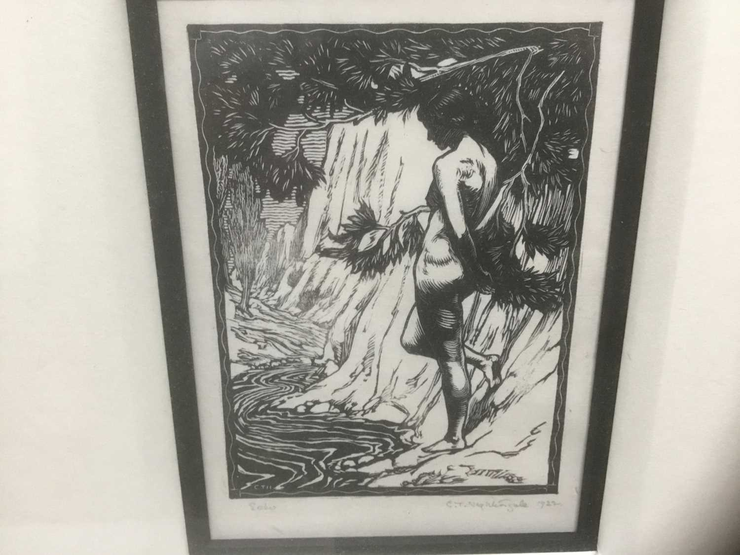 Charles Thrupp Nightingale (1878-c.1939) signed woodcut - Echo, titled, signed and dated 1922 in pen - Image 2 of 7