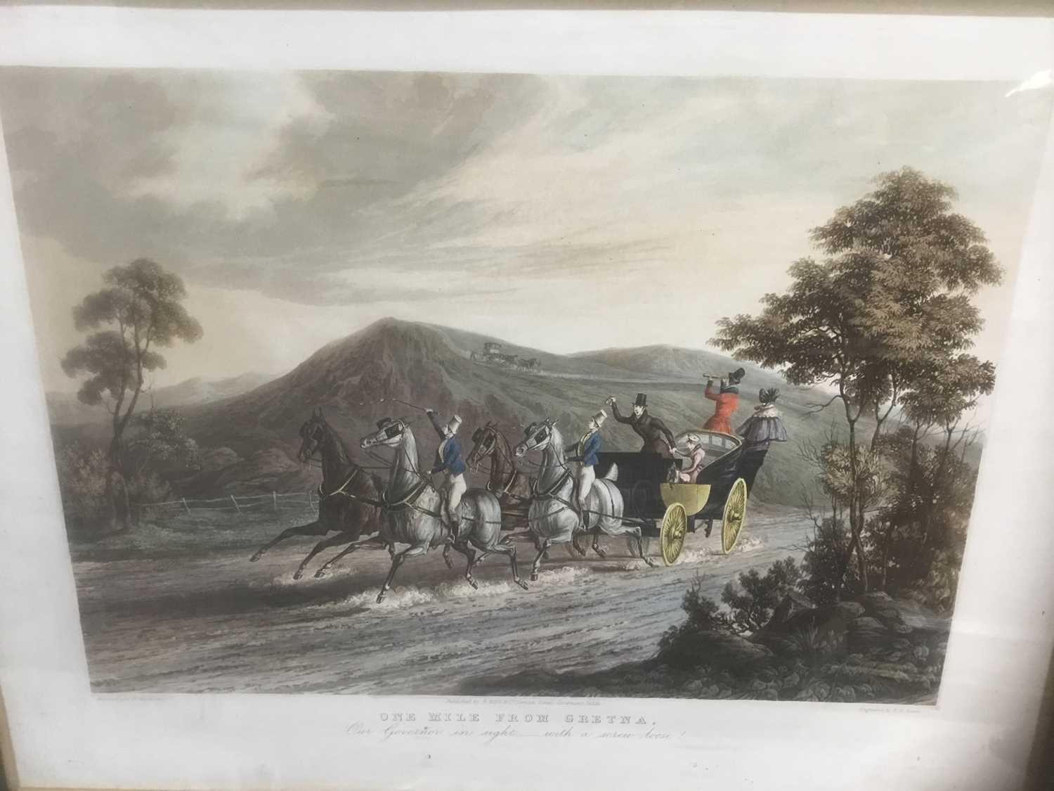 Pair of 19th century hand coloured aquatints by R. Reeves after C. Newhouse, coaching scenes entitle - Image 8 of 11