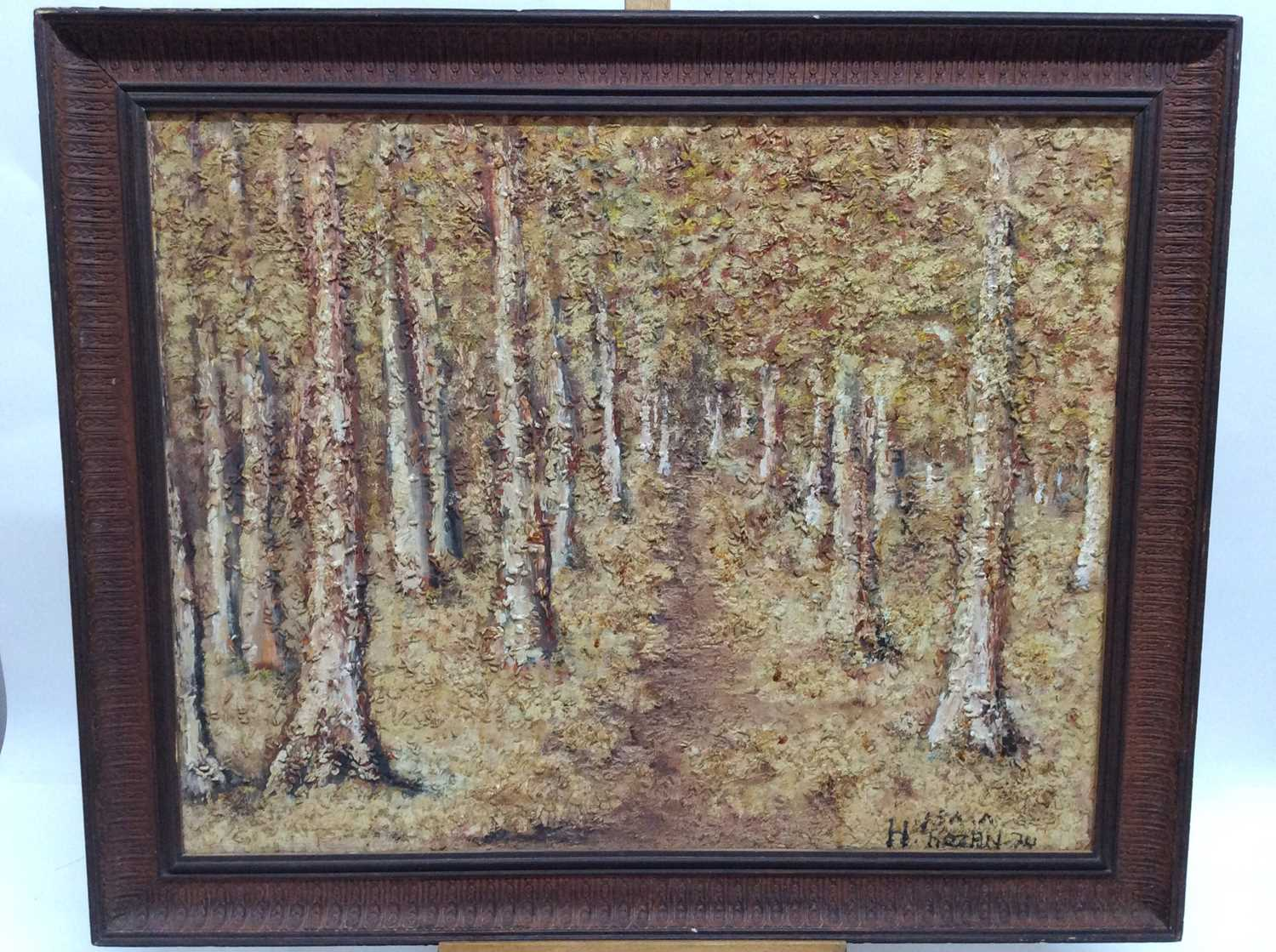 1970s mixed media on board - Avenue of Trees, indistinctly signed and dated, framed, 55cm x 69cm