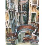 Saverio De Bello (b.1951), watercolour - Venetian Canal