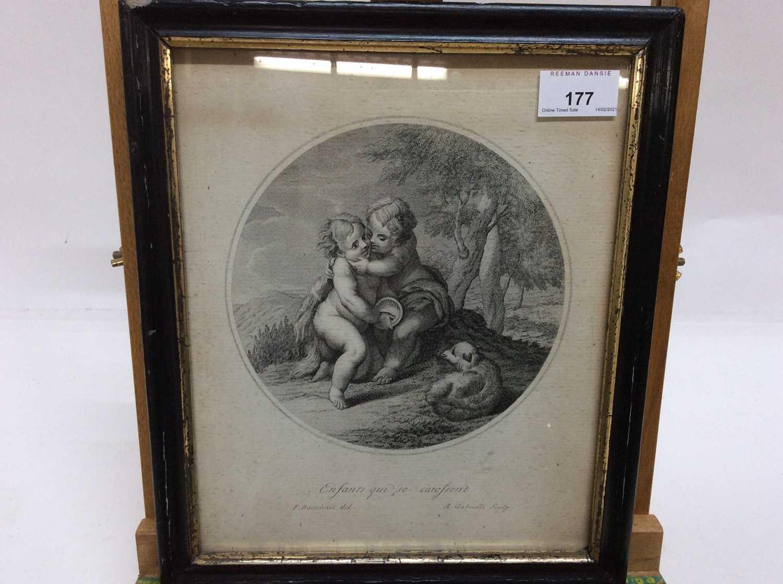 Francesco Bartolozzi (1727-1815) black and white engraving - 'Enfants qui se caressent', in gazed eb