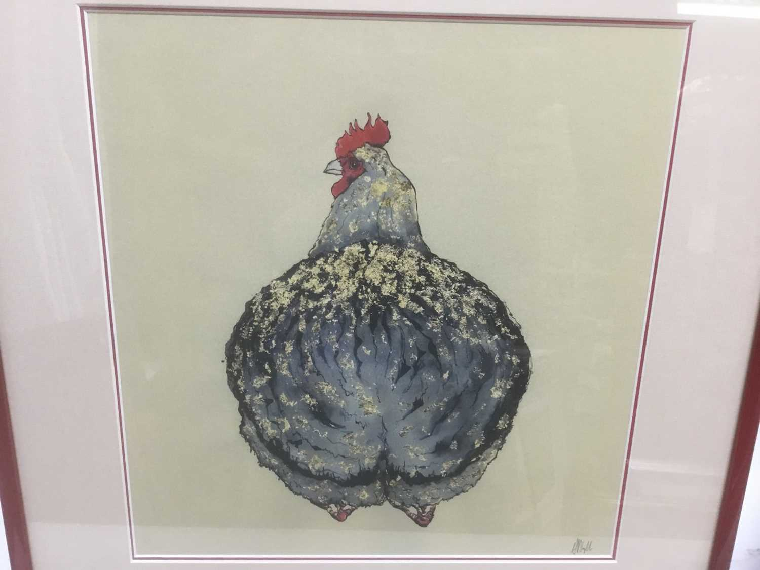 Contemporary limited edition coloured print - A Chicken, 25/75, indistinctly signed, 36cm x 34cm, in - Image 2 of 7