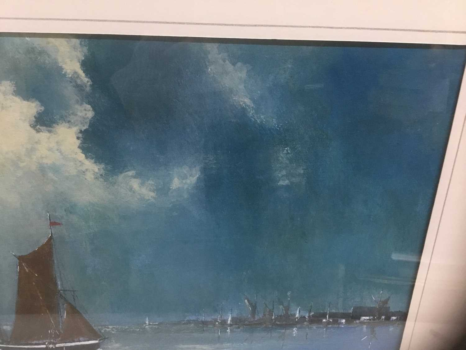 John Clarke, contemporary, oil on board - sailing barges, signed, 25cm x 36cm, in glazed frame - Image 6 of 7