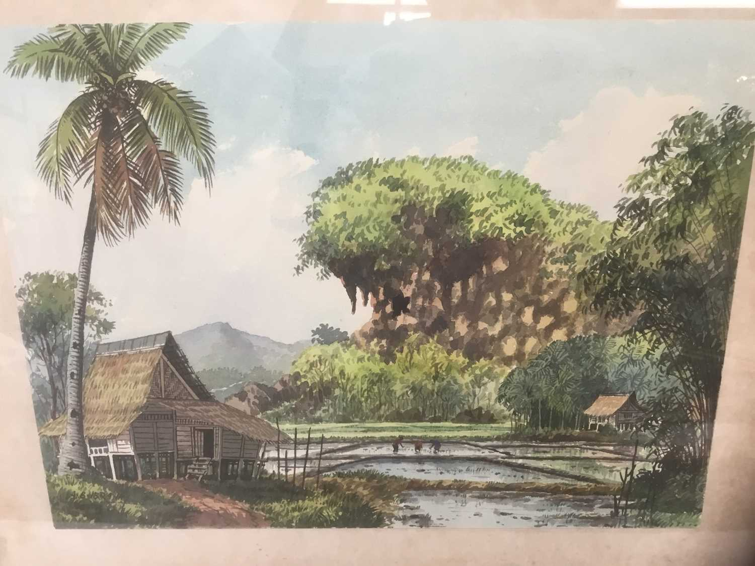 Abu Baker Ibrahim (1925-1977) pair of watercolours, Malayan landscapes, signed - Image 6 of 8