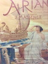 After Albert Maignan, period lithographic print, Opera poster for Ariane by Massenet