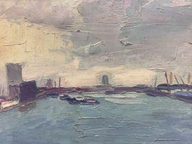 English School 20th century, oil on canvas - London Dockland scene, signed JB, framed