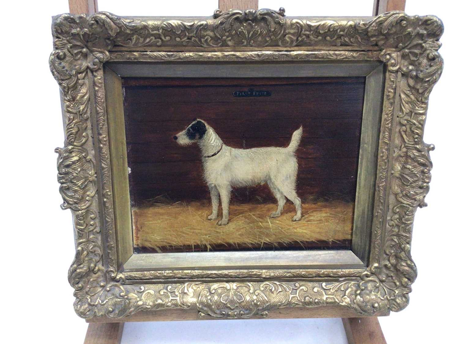 """English School 19th Century, """"First Prize"""", a study of a terrier, oil on board, inscribed, in gilt f - Image 2 of 3"""