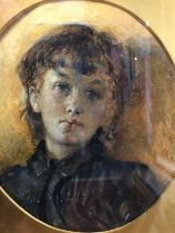 Peter Leslie, watercolour portrait of a young woman, oval