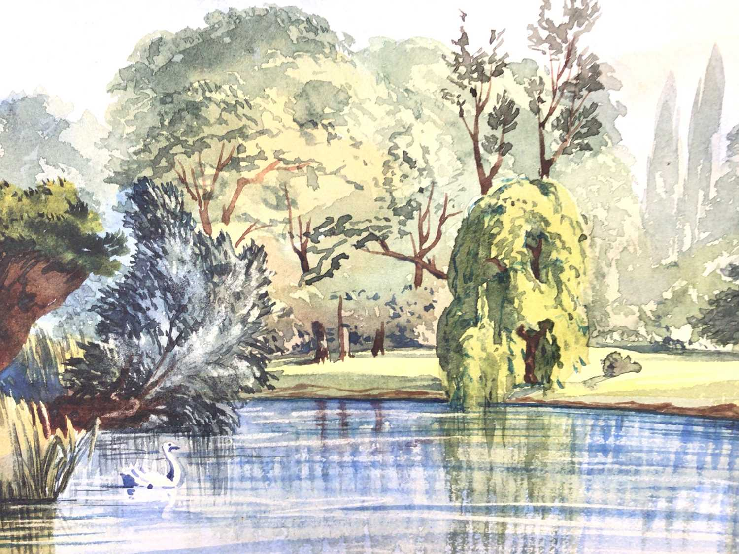 Attributed to Ernest Shepard watercolour - view of The Lake Regents Park