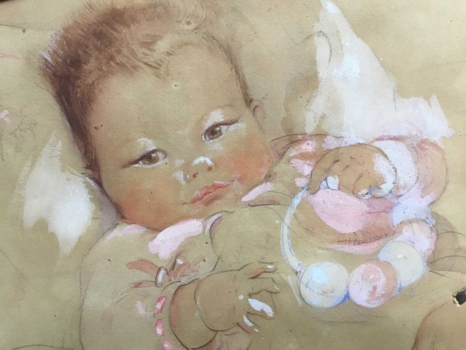 Eileen Alice Soper (1905-90), watercolour of a baby, 1934 and signed - Image 2 of 8