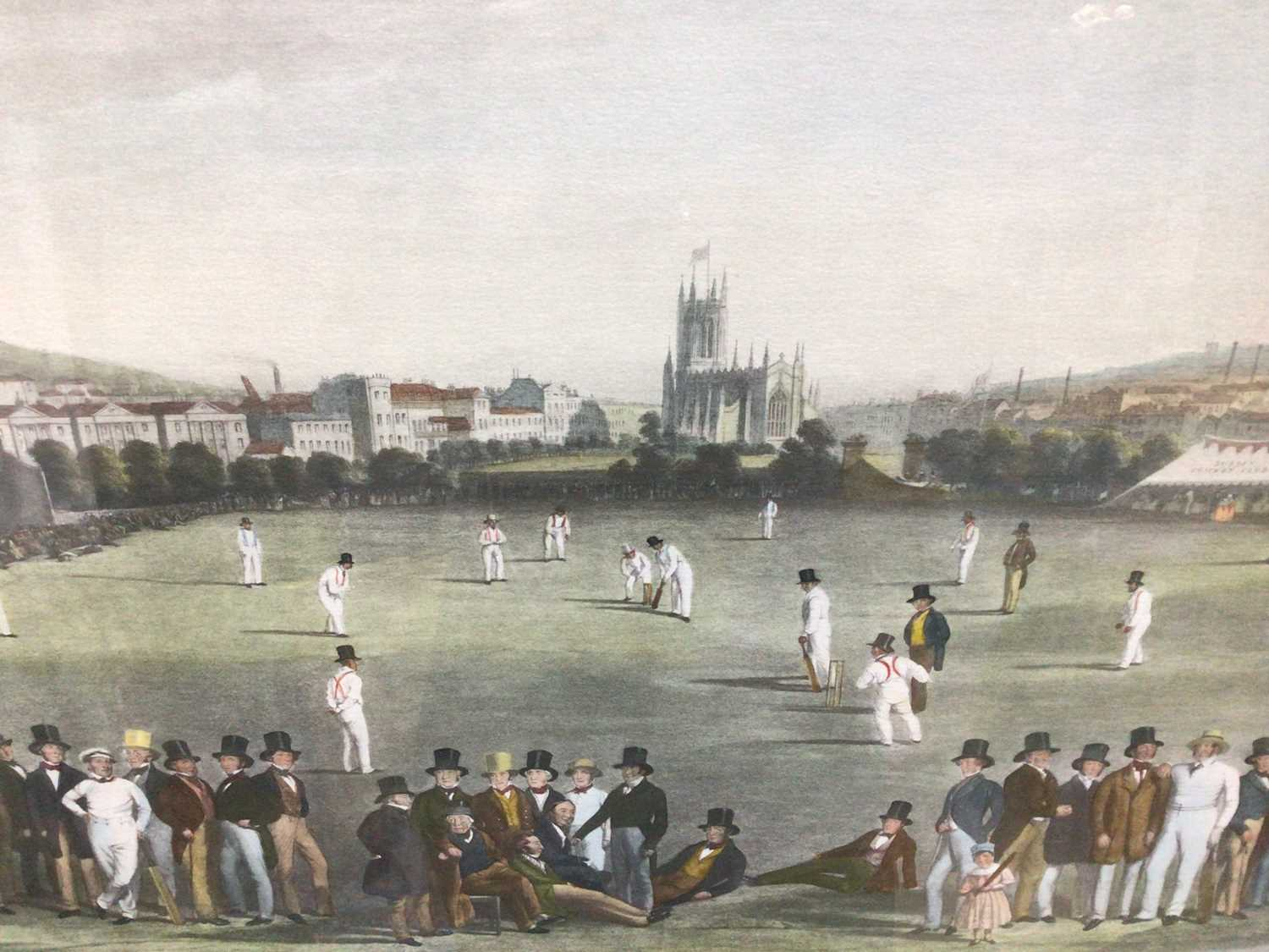 19th century-style coloured print - The Cricket Match between Sussex & Kent, at Brighton, 48cm x 66c