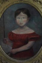 English School, early 19th century, oval oil on canvas - portrait of a child, 56cm x 46cm, in good g