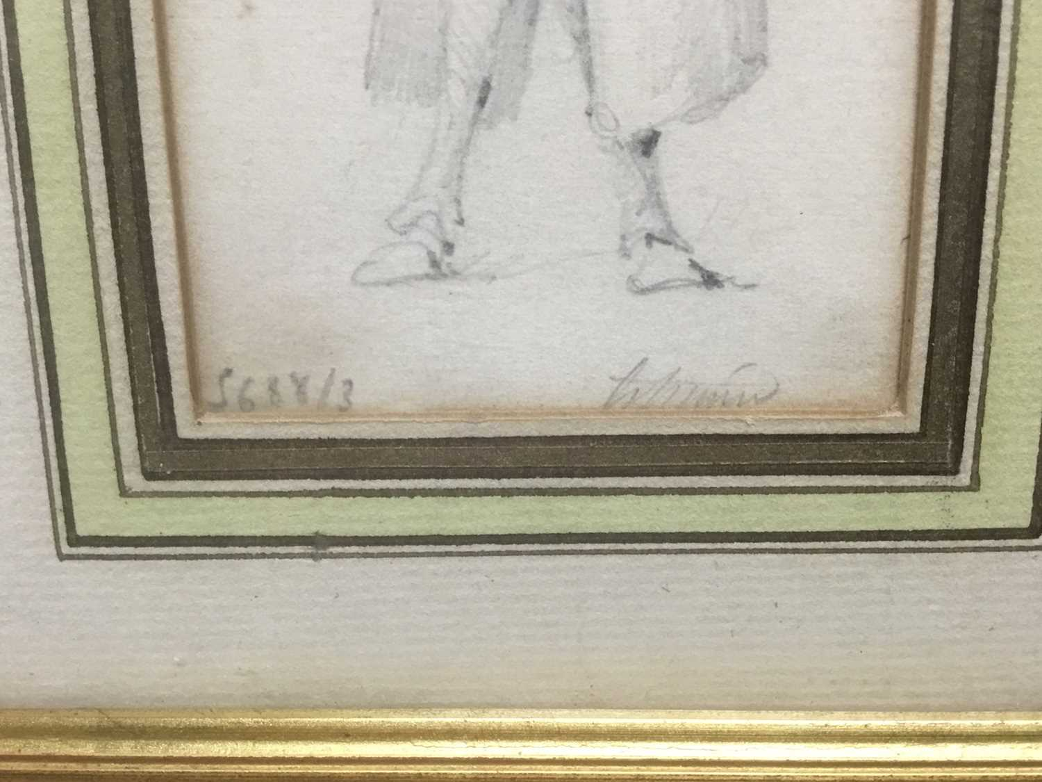 Henry Bonaventure Monnier (1805-1877) three pencil sketch caricatures of figures, tow signed, 14.5cm - Image 6 of 9