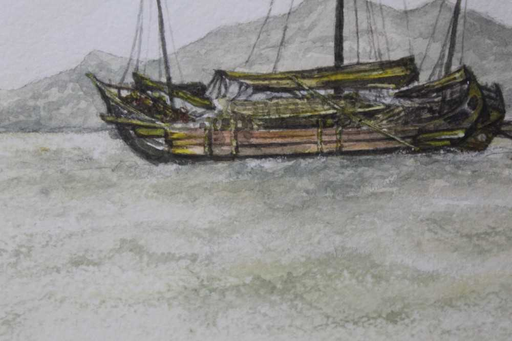 Sir Rutherford Alcock (1809-1897) pencil and watercolour - Junk off headland at the Woofoomun, - Image 3 of 8