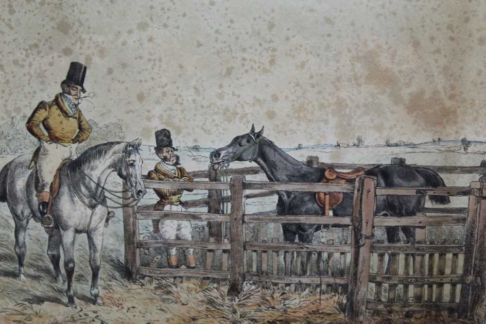 Henry Alken set of five early 19th century coloured prints - Notions, published 1831, in glazed oak - Image 11 of 14