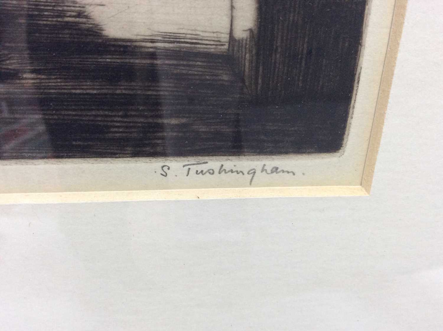 Sidney Tushingham (1884-1968) signed black and white etching - Continental Street, in glazed frame, - Image 3 of 4