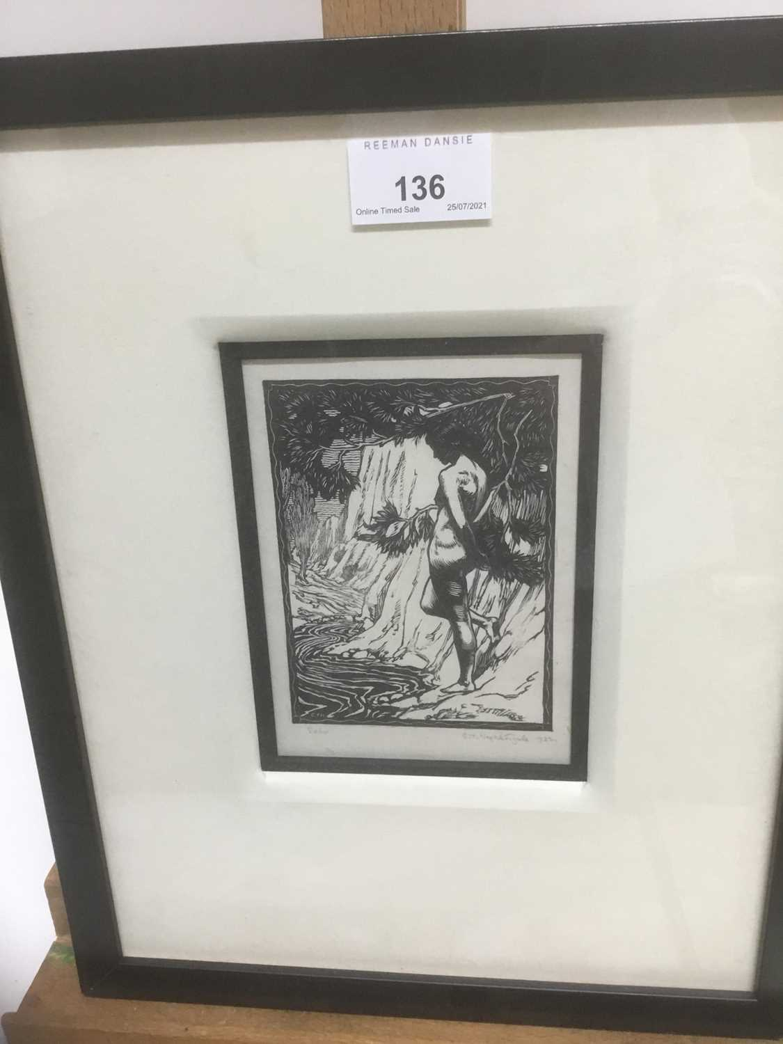 Charles Thrupp Nightingale (1878-c.1939) signed woodcut - Echo, titled, signed and dated 1922 in pen