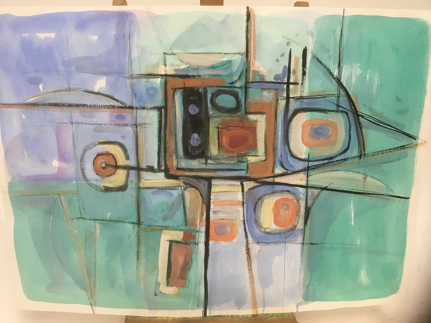 Manner of a Henry Cliffe (1919-1983) two watercolours on paper, abstract compositions - Image 2 of 7