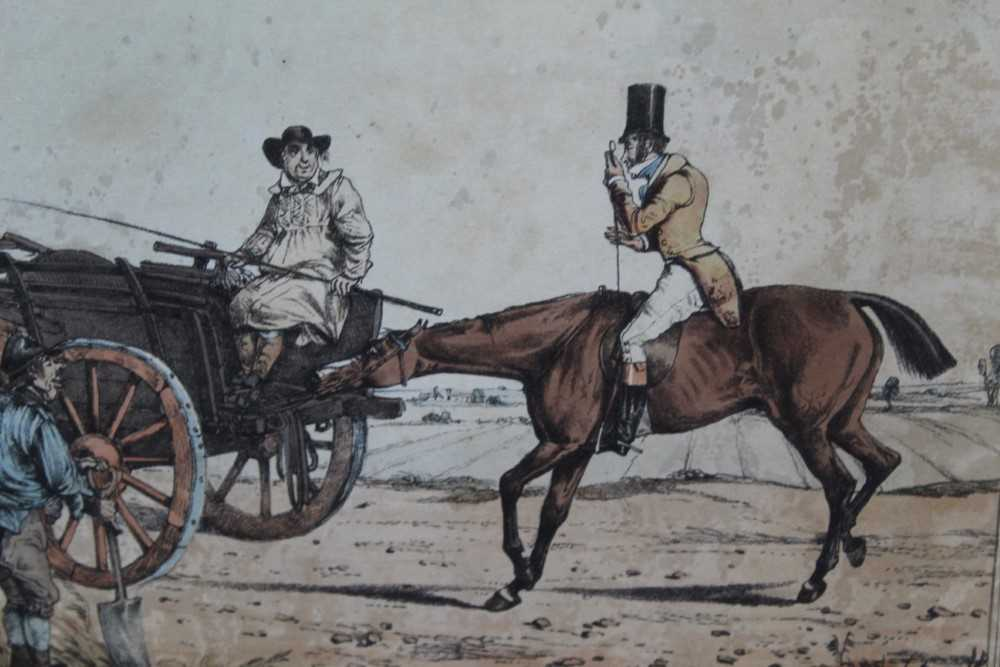 Henry Alken set of five early 19th century coloured prints - Notions, published 1831, in glazed oak - Image 6 of 14
