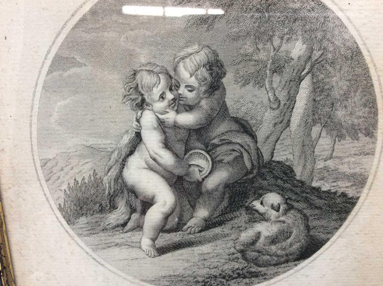 Francesco Bartolozzi (1727-1815) black and white engraving - 'Enfants qui se caressent', in gazed eb - Image 2 of 4