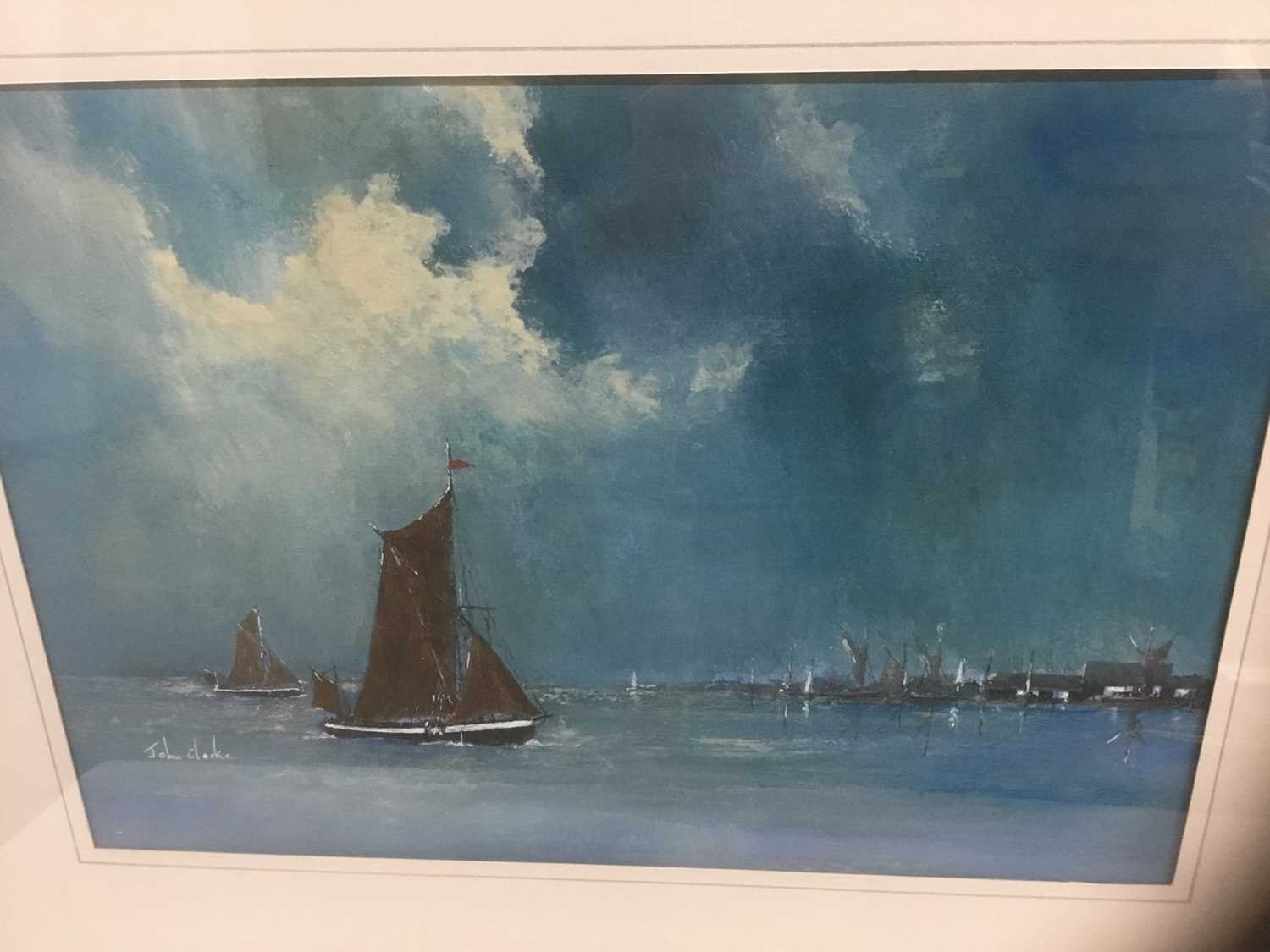 John Clarke, contemporary, oil on board - sailing barges, signed, 25cm x 36cm, in glazed frame - Image 2 of 7