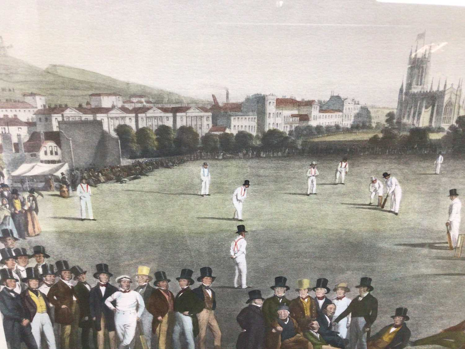 19th century-style coloured print - The Cricket Match between Sussex & Kent, at Brighton, 48cm x 66c - Image 6 of 8