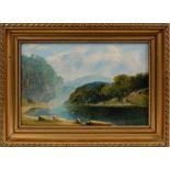 Fearnleigh Leonard Montague (1835-1880) oil on canvas board - Australian Landscape, inscribed verso,