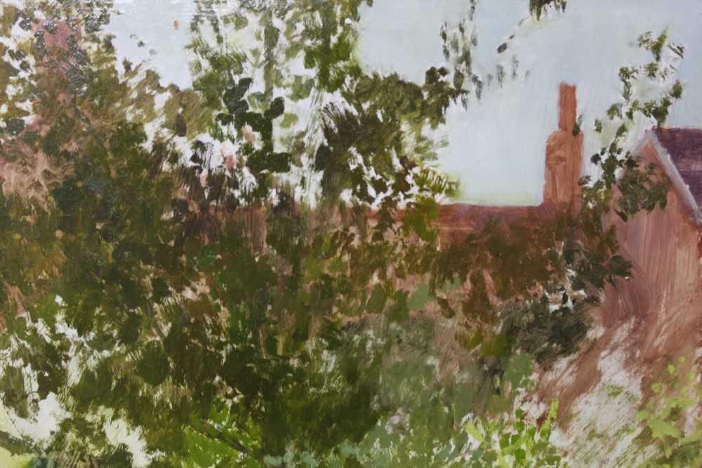 Pat Jourdan (Contemporary) oil on board, Back garden - Image 4 of 9
