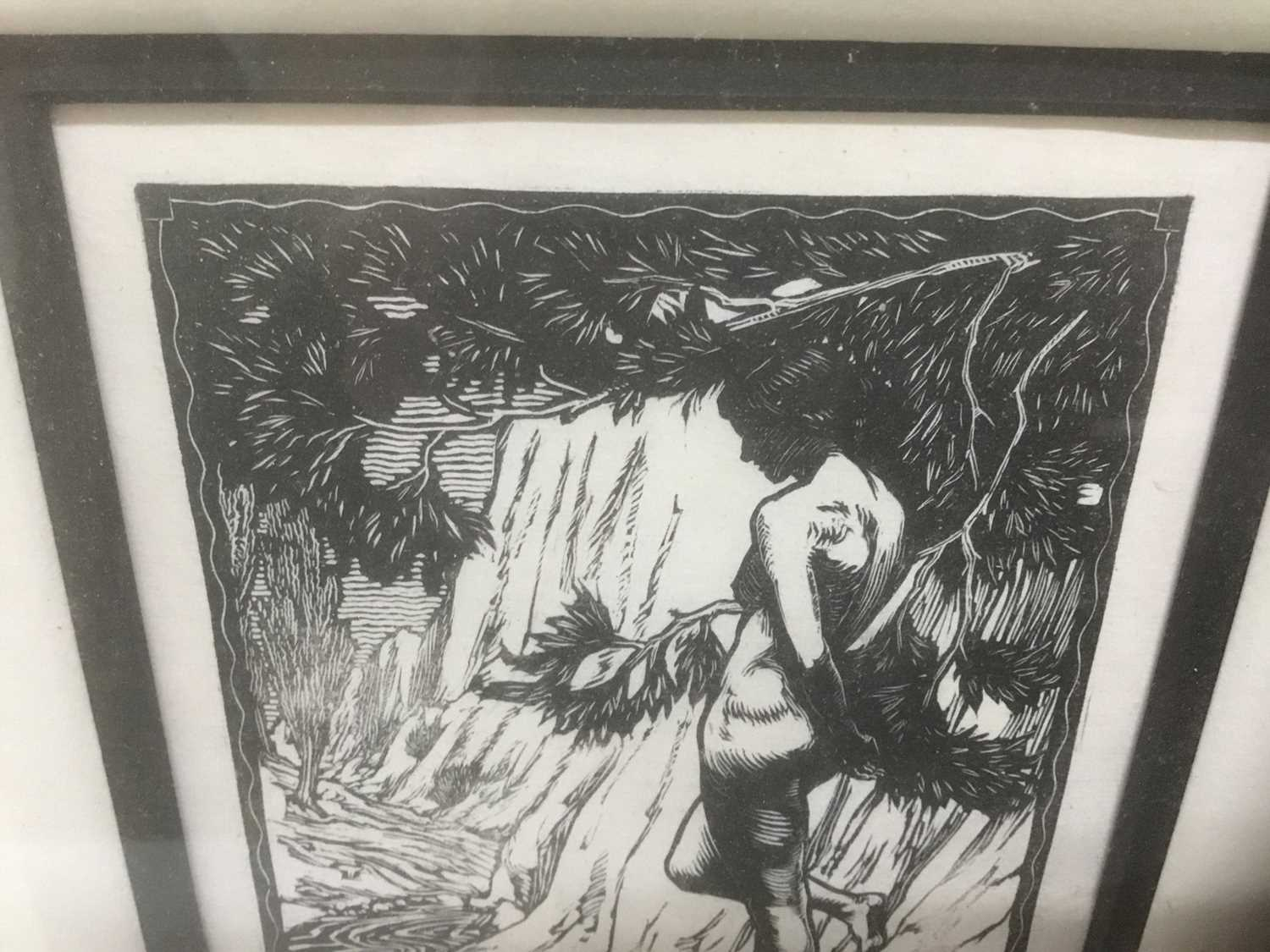 Charles Thrupp Nightingale (1878-c.1939) signed woodcut - Echo, titled, signed and dated 1922 in pen - Image 5 of 7