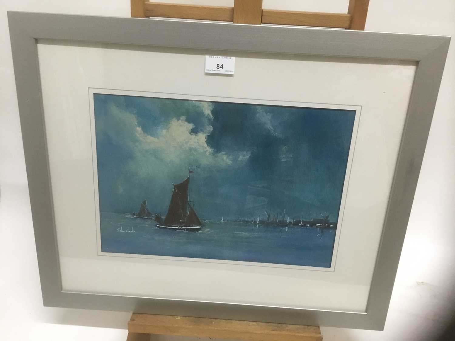 John Clarke, contemporary, oil on board - sailing barges, signed, 25cm x 36cm, in glazed frame