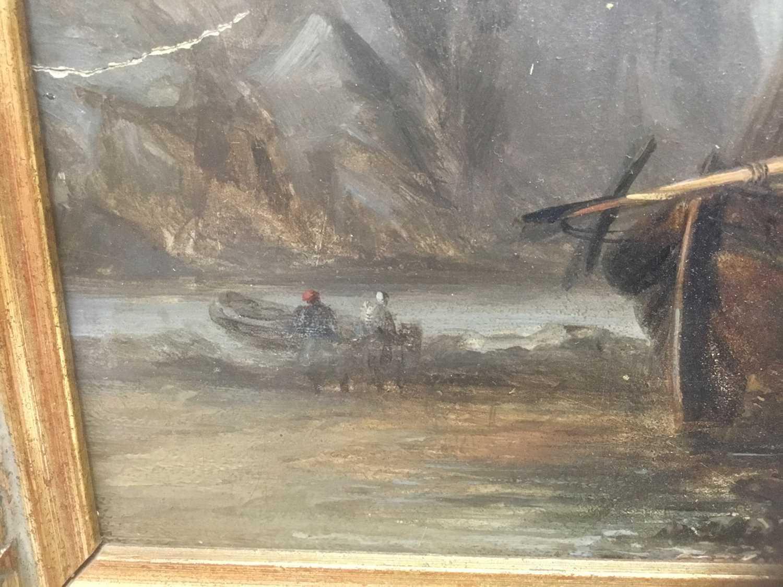 19th century oil on panel coastal scene - Image 8 of 13