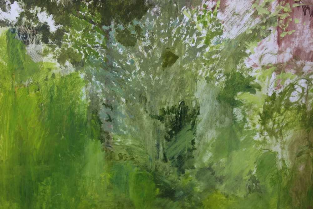 Pat Jourdan (Contemporary) oil on board, Back garden - Image 6 of 9
